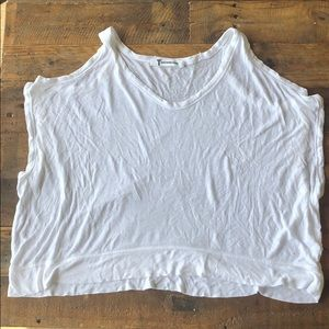 T by Alexander Wang white cold shoulder top sz S